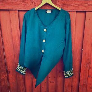 Women's vintage 90s teal blouse size 14 petite